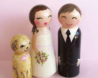 Hand Painted Love Boxes Custom Wedding Cake Toppers Bride Groom and Dog