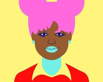 Uniform Daisy (04) Art Print,  (Neon Pink Hair Punk Illustration)