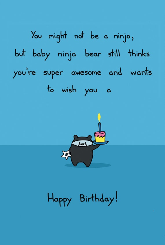 Ninja Bear Birthday Card – Birthday Card Bear