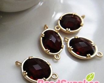 CH-GL-03002- Gold plated, colored faceted  oval connector, Ruby, 4 pcs
