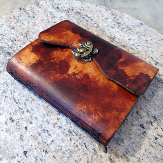 """Leather Travel Journal (""""Faux Bovine"""" w/Decorative Cross Stitch and Swing Clasp)"""