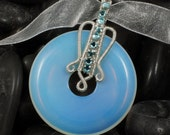 Opalite and Sterling Silver Donut Necklace With Blue Crystals