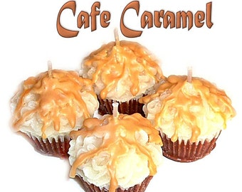 4 Cafe Caramel Cupcake Candle Minis Coffee Scent Votive