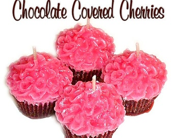4 Chocolate Covered Cherries Cupcake Candle Minis Scented Votive Handmade