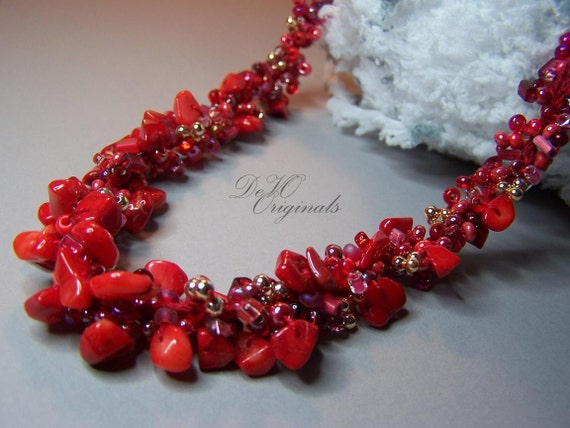 Red Hot Coral & Glass Seed Bead Hand-Knitted Necklace with Gold Accents