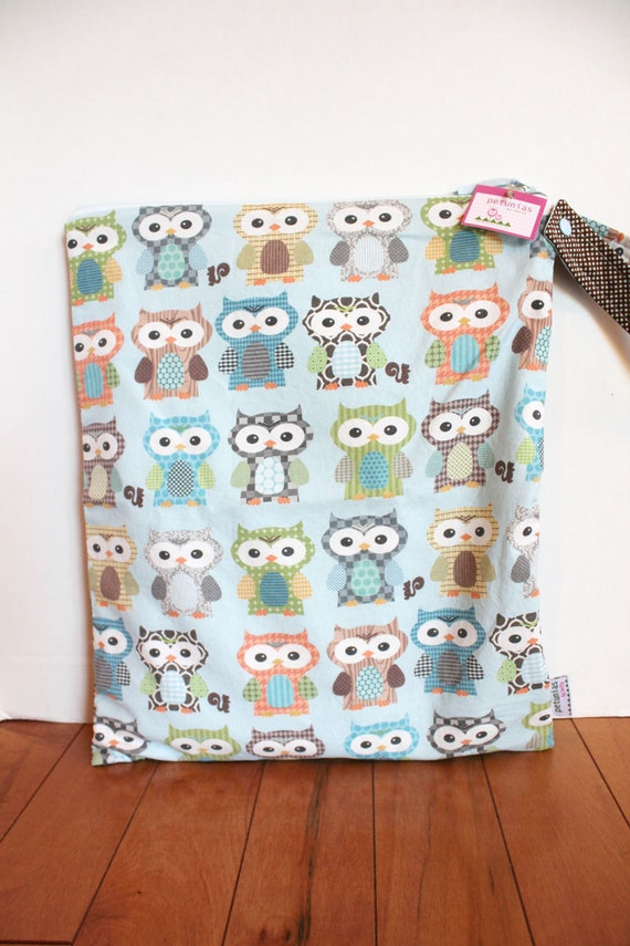 The Owl ICKY Bag XL - wet bag wetbag snap handle waterproof baby gift gear toddler cloth diaper accessories makeup travel eco friendly