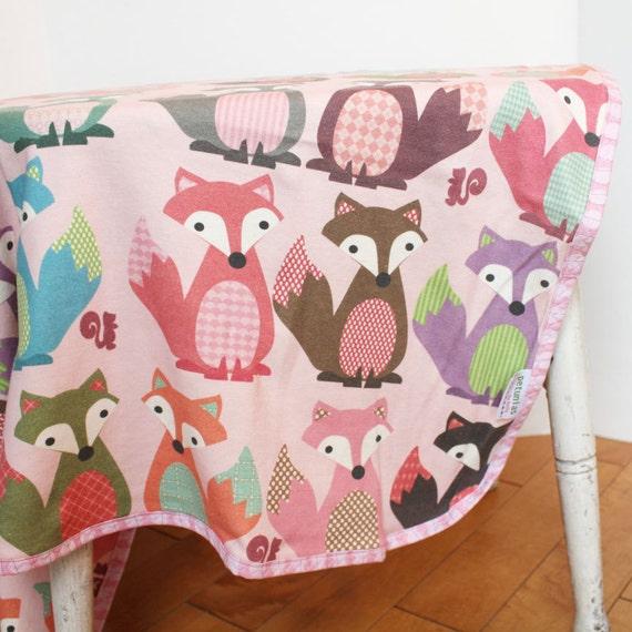 Foxy - fox Organic Interlock Knit Blanket by PETUNIAS newborn baby gift photo prop pink brown green swaddle wrap nursing cover