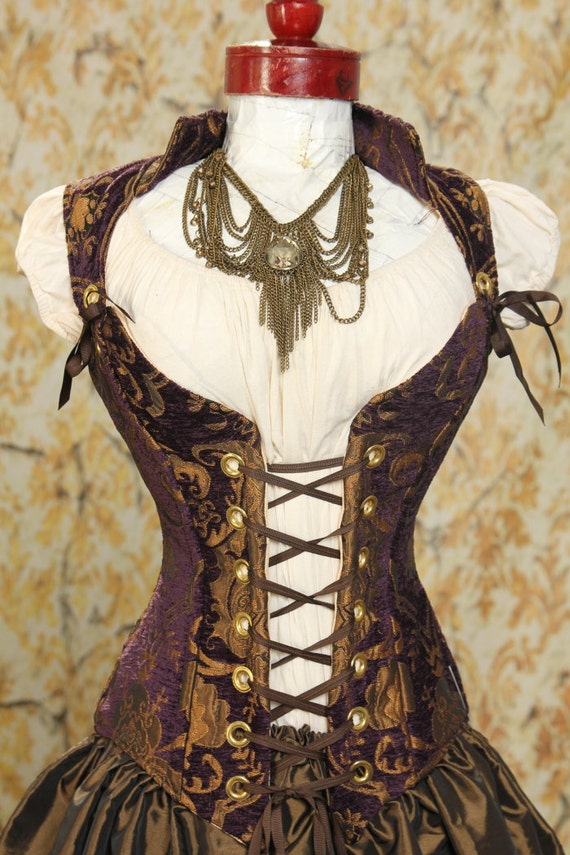 Waist 24 to 26 Purple and Gold Medallion Courtier Corset