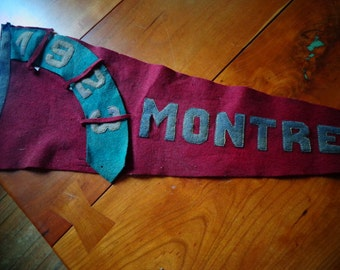 Canadian Banner A rare and wonderful Vintage Montreal Banner Flag burgundy and deep green banner souvenier from Canada