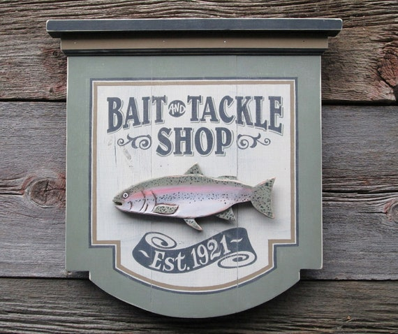Ships Canada Us Wide Wood Sign: Bait And Tackle Wood Sign Fishing Sporting Goods Antique
