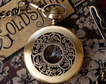 Brass Mechanical Pocket Watch Necklace 5