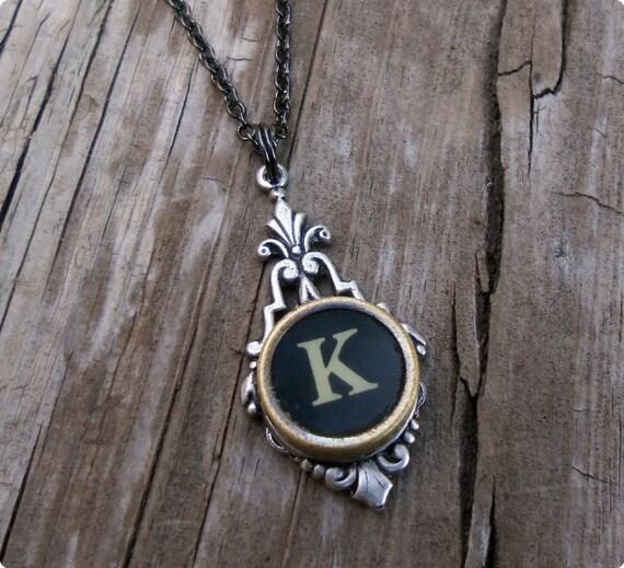 Letter K  Vintage Typewriter Key  Drop Necklace
