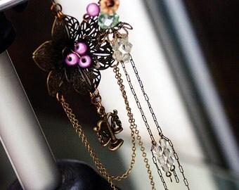 Earrings 'The KING'S MISTRESS' Asymmetrical Earrings, Vintage Victorian Earrings with Victorian Artifacts, Mori Girl Woodland Earrings