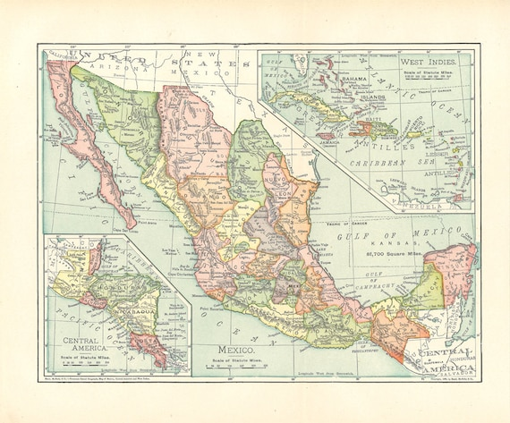 Map Of Mexico From The 1900's A Printable Digital
