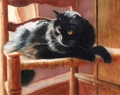 Black Cat Art PRINT of a Watercolor Painting Pet Portrait 4 Christmas Gift