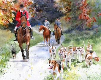 Giclee Foxhunt Thoroughbred Warmblood Hounds horse art watercolor Painting