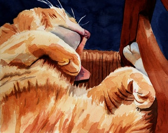 Orange Marmalade Ginger Tabby Cat Art Print of my watercolor painting large huge big girls decor custom hand painted acrylic giclee