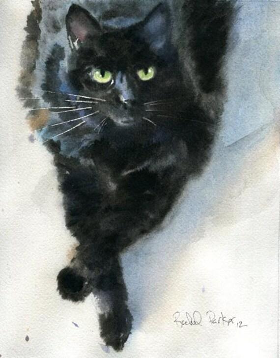 Black Cat Art Original Watercolor Painting Pet Portrait 4