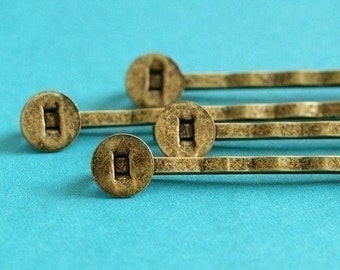 50pcs Antique Bronze Bobby Pins With Round Pad