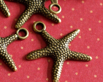 Lead Free 12pcs Antique Bronze Finish Alloy Starfish Sea Star Charms