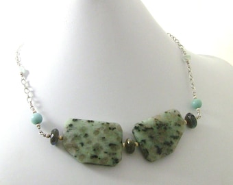 Aqua Blue Grey Stone Geometric Necklace - Sesame Jasper, Labradorite, Sterling Silver Chain - Christian Jewelry - Living Water Collection