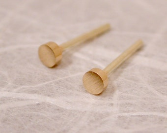 Brushed Gold Studs 2.5mm Tiny Earrings 14k Yellow Posts Modern Jewelry by SARANTOS