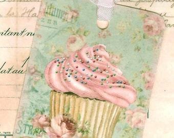 Cupcake Gift Tags  - Pink Cupcake - Pink and Aqua , Birthday Party Favors , Cake Tags , Bluebirdlane