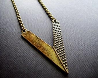 Large Brass Chevron Arrow Necklace, Deep V Pendant on Antiqued Brass, Polka Dot V Necklace