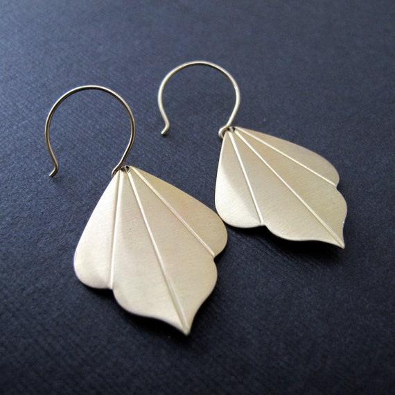 Fleur. Art Deco Leaf Earrings, 14K Gold Filled Hoops, Scalloped Leaf, Brass Dangle Earrings
