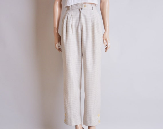 KRIZIA high waist trousers / checkered / wool / pants / pleated / xs / s