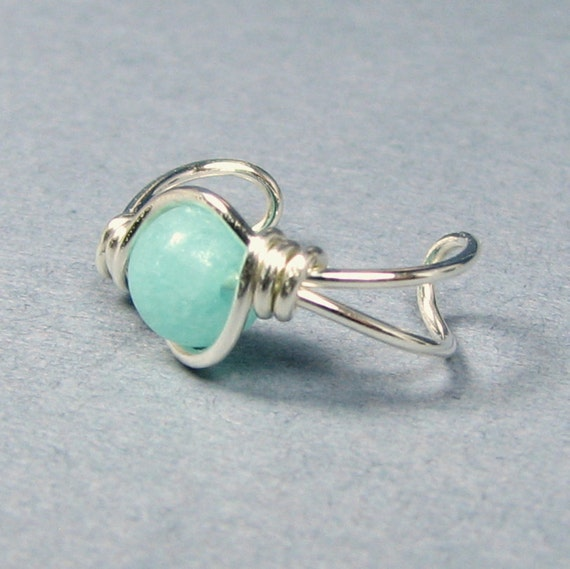 Sterling Silver Ear Cuff  Amazonite or Choice of beads cartilage earring non pierced