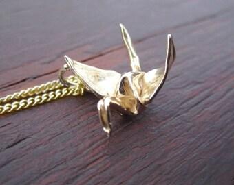 Handmade Gold Origami Crane Pendant 14k