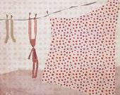 beau linge - Children Wall Art - digital Illustration - Nursery Art Print - Wall Decor - Poster - laundry - pink - boy - girl