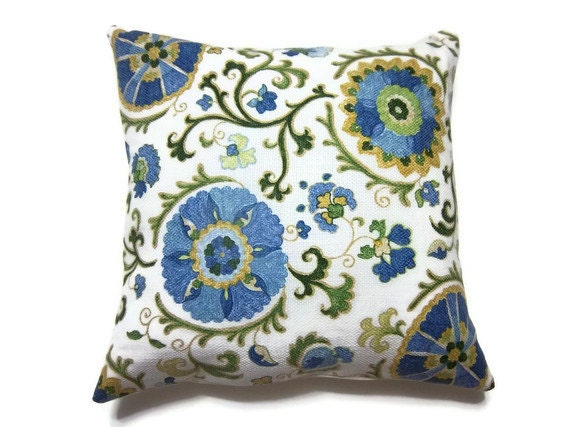 Two Navy Blue Light Blue Olive Green Yellow Gold White Pillow
