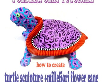 TUTORIAL  -Polymer Clay PDF tutorial -  how to create polymer clay turtle sculpture and Millefiori flower cane
