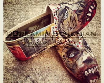 Painted TOMS Shoes, Custom Slip-ons, Zombies, Monsters, Dead Decaying People, Halloween Attire Gift for Party, Comic Con, Hand-painted Toms