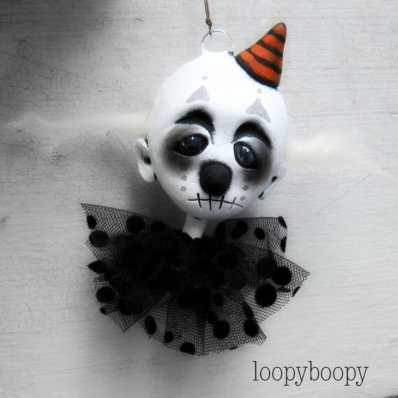 Loopy Clown Art Doll Halloween Ornament Ooak RESERVED for C