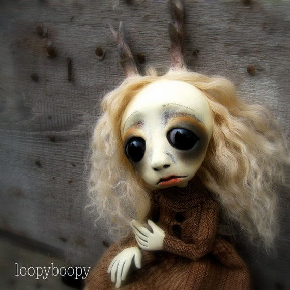 Loopy Gothic Art Doll Ooak Sculpture Darla Deer Girl