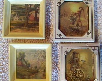 Vintage pair small rustic wood plaques  pair vintage small pictures 1960's