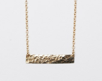 Franklin Necklace Hammered Brass Bar Necklace // Minimalist Jewelry // Simple Holiday Gift