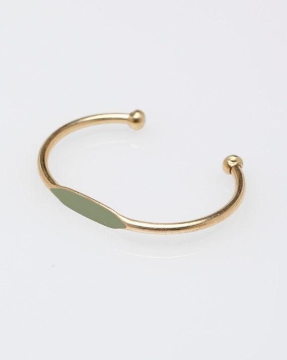 Sage Green Hand Painted Brass ID Cuff Bangle Bracelet