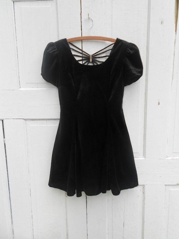 90s Black Velour Babydoll Dress Size Small Spiderweb Back