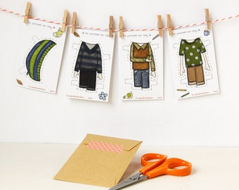 Colin Paper Doll Clothes - Boy Dress-up Clothes - Single Outfit Cards