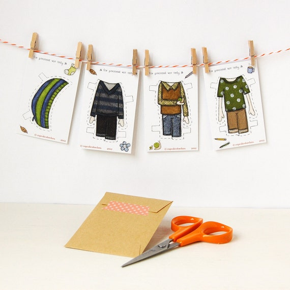 Colin Paper Doll Clothes, Boy Dress-up Clothes - Single Outfit Cards, Set A