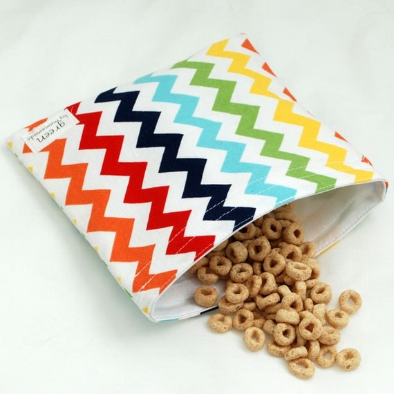 Chevrons (Rainbow) - Medium Reusable Sandwich Bag from green by mamamade