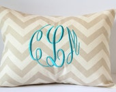 Monogram Pillow Cover Decorative Accent Throw Pillow 12 x 16 Baby Nursery Decor Dorm Home Wedding Bridal Anniversary Gift Monogrammed