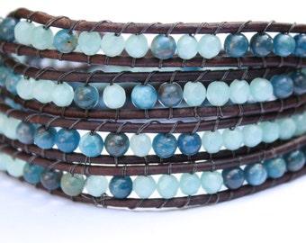 Wrap Bracelet 4 x Aqua Blue