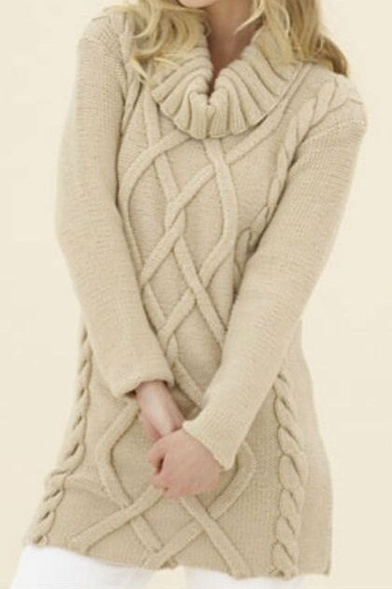 Items similar to Hand Knit Long Sweater Tunic Cable Pattern With large Collar...