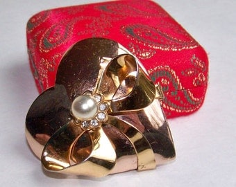 SJK Vintage -- Coro Mexico Signed Hector Aguilar Sterling Vermeil Heart Brooch with Original Box (1940's)