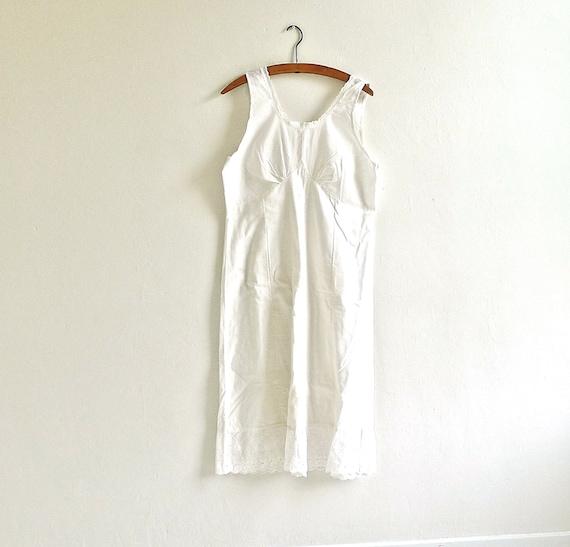 Vintage White Cotton Slip with Eyelet Trim